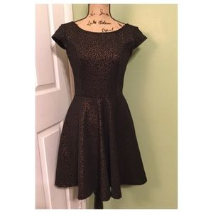 Snap Black & Gold Skater Dress